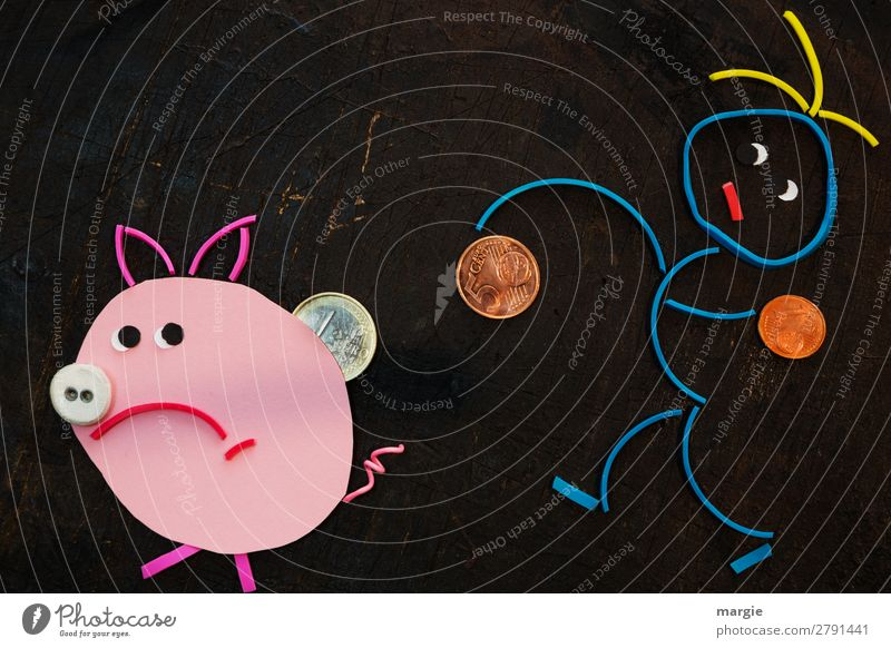 Gummy worms: piggy bank. in man puts coins in pig Economy Financial institution Success Human being Masculine Feminine Androgynous Woman Adults Man 1 Animal Pet