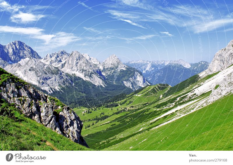 Come on, hike! Calm Vacation & Travel Mountain Hiking Nature Landscape Sky Clouds Summer Beautiful weather Grass Forest Rock Alps Lanes & trails Blue Green