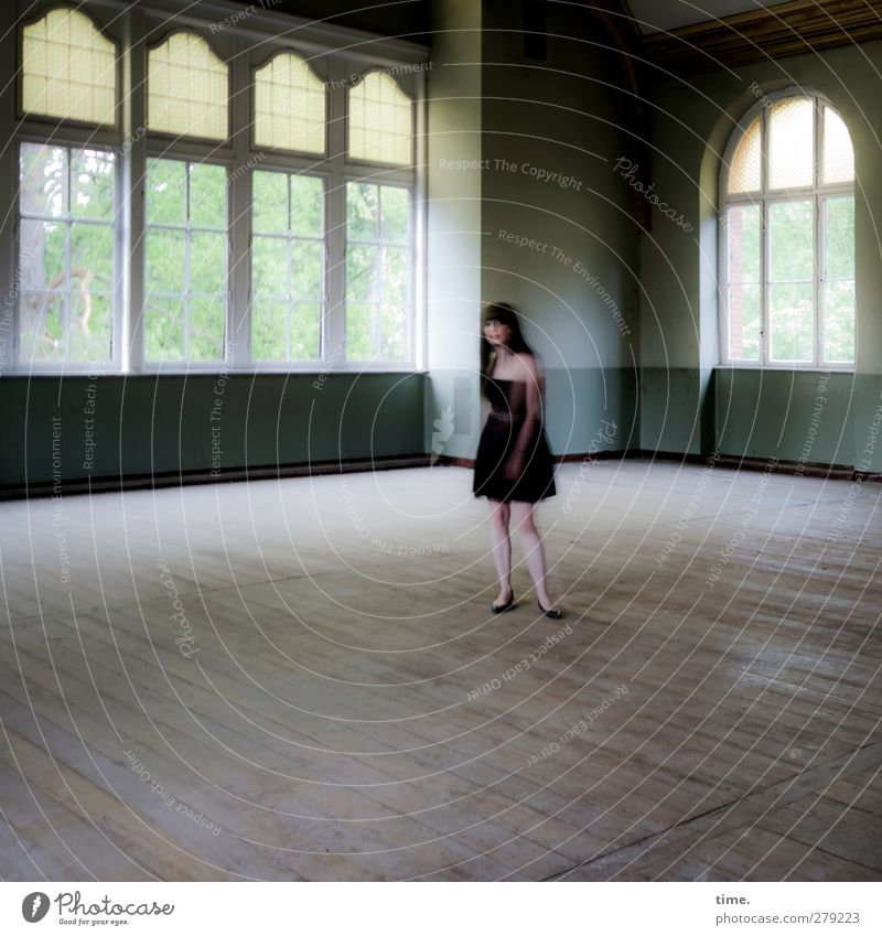 Unfinished Ballroom Story (V) Human being Feminine Woman Adults 1 Hall Window Dress Black-haired Long-haired Observe Stand Exceptional Historic Watchfulness