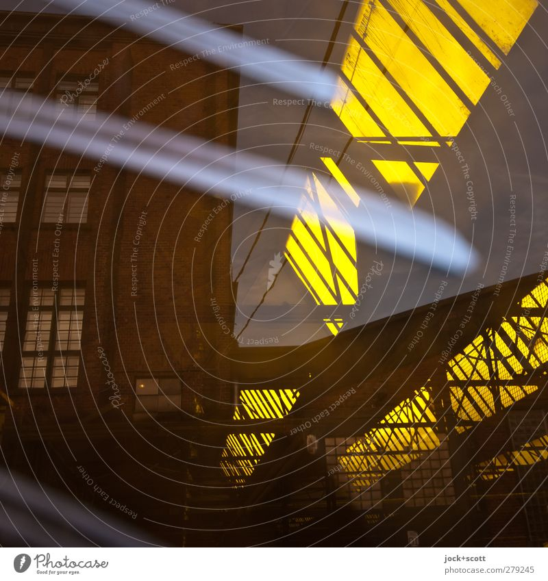 Insight into a farbric hall Kreuzberg Factory Skylight Glass Graffiti Stripe Illuminate Sharp-edged Retro Yellow Diagonal Detail Abstract Structures and shapes