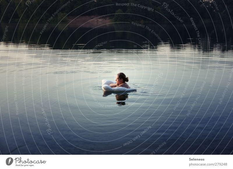 Human being Woman Nature Water Summer Sun Adults Landscape Environment Feminine Naked Coast Head Lake Dream Swimming & Bathing