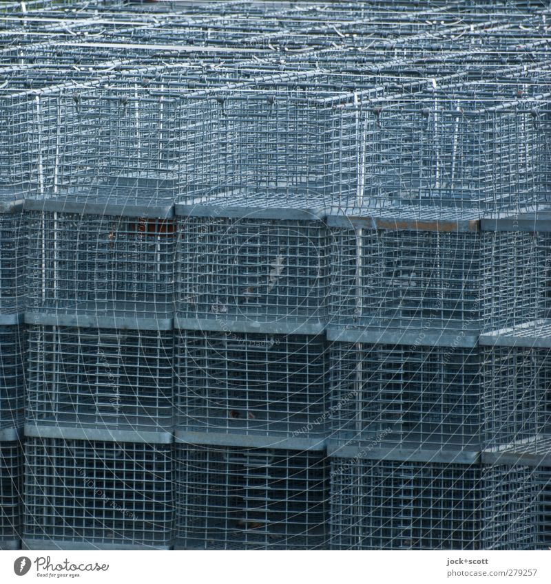 wiry Storage area Logistics Box Collection Metal Line Network Lie Thin Sharp-edged Simple Above Many Gray Safety Protection Orderliness Idea Arrangement