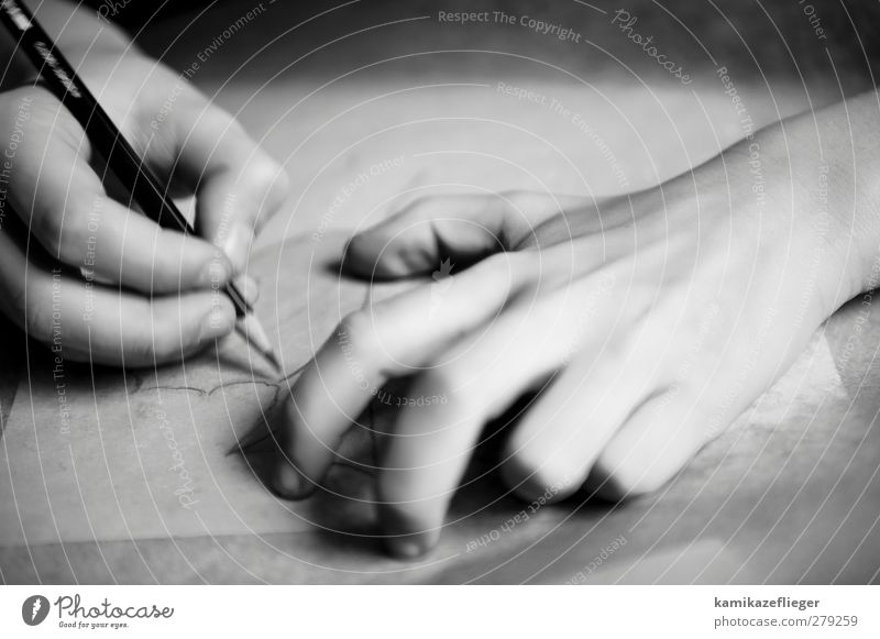 Draw Human being Child Hand 1 Artist Painter Paper Pen Black & white photo Interior shot Detail Copy Space top Light Shadow