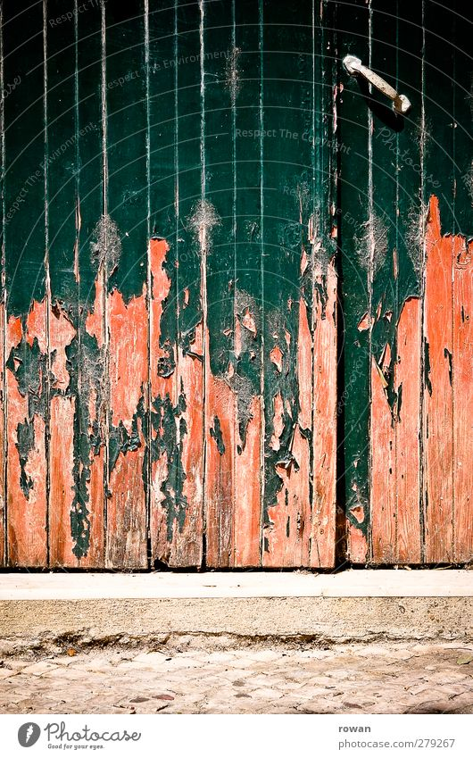 gate House (Residential Structure) Manmade structures Building Architecture Wall (barrier) Wall (building) Facade Door Old Broken Retro Gloomy Town Green Orange