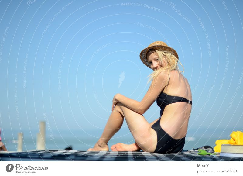 holiday greetings Relaxation Vacation & Travel Tourism Summer Summer vacation Sun Sunbathing Beach Ocean Human being Feminine Young woman Youth (Young adults)