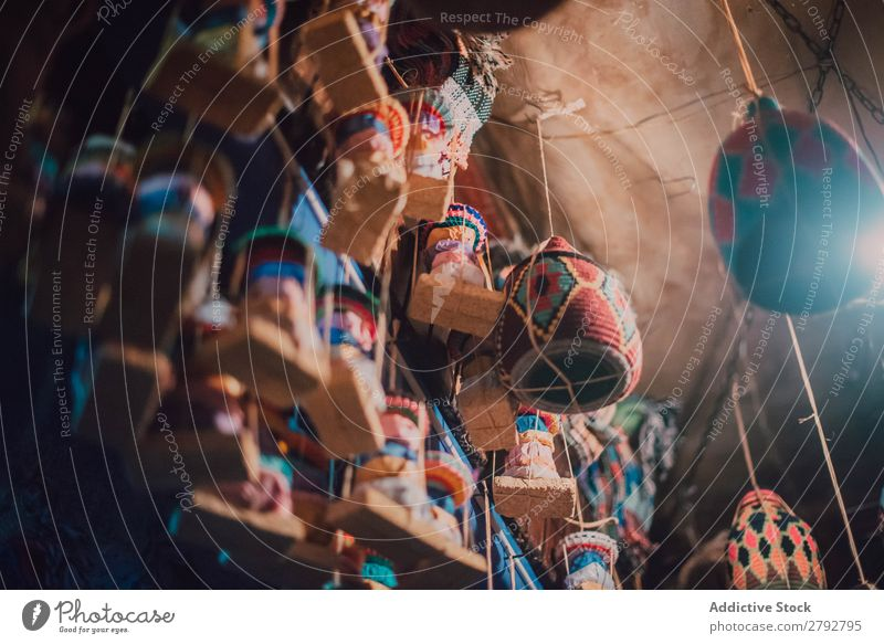 Different decorations hanging on ceiling Markets East Bazaar Decoration Hanging Set Multicoloured Exceptional Tradition Shopping Storage Tourism Chechaouen