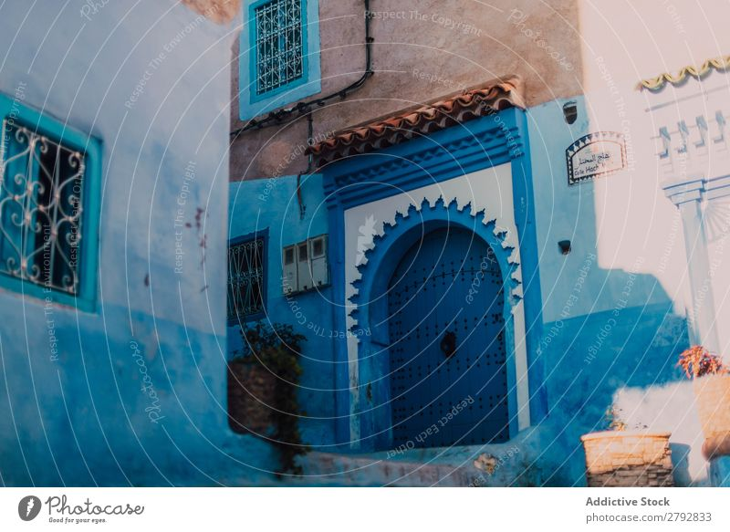 Street with old buildings Door Building Chechaouen Morocco Construction Facade Old Blue Vacation & Travel Sunbeam Day Tourism Beautiful romantic Limestone Stone