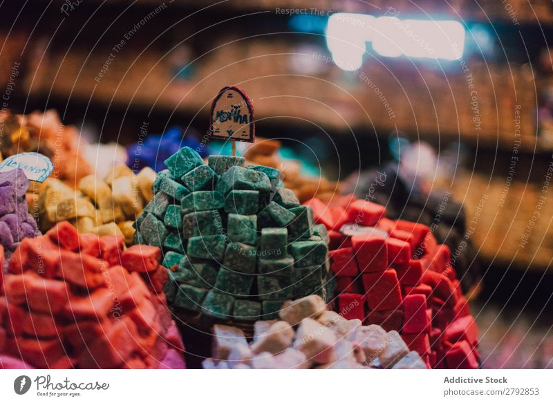 Shop with different sweets Sweet assortment Exceptional Multicoloured Counter Stand Boules Markets East Bazaar Tradition Shopping Storage Tourism Chechaouen