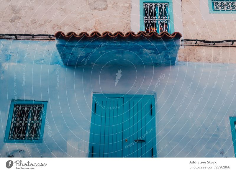 Street with old buildings Building Chechaouen Morocco Construction Facade Old Blue Vacation & Travel Sunbeam Day Tourism Beautiful romantic Limestone Stone