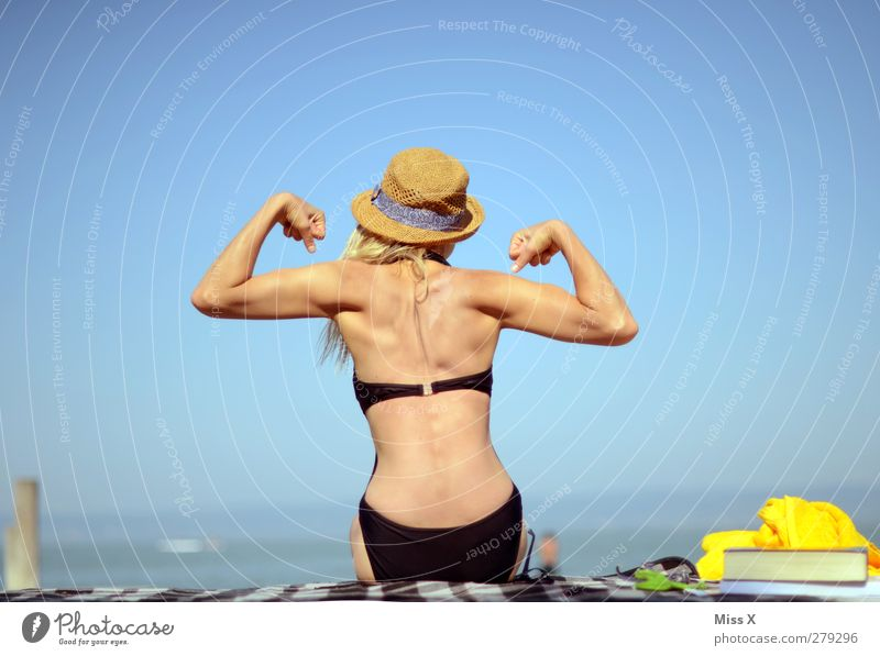 poser Vacation & Travel Tourism Summer Summer vacation Sunbathing Beach Fitness Sports Training Swimming & Bathing Feminine Woman Adults Back 1 Human being