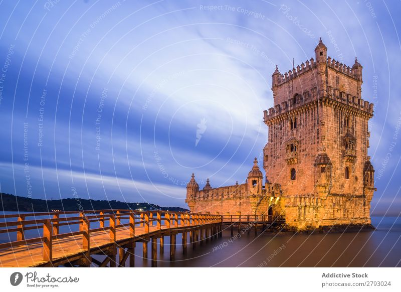 Medieval stone tower in dusky seascape Tower medieval Ocean Fortress Nature Sunset Architecture Landscape River Long exposure Old Monument Vacation & Travel Sky