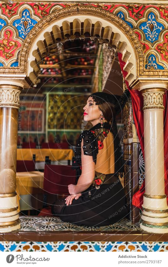 Charming woman in dress in restaurant Woman Restaurant Dress Luxury Table Café Mosaic Room Chair Design Lady Passion Sit Beautiful Furniture Make-up