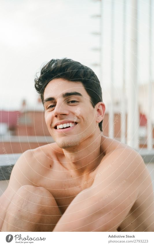 Face of shirtless young man smiling Man Guy Smiling Youth (Young adults) Happy Brunette Cheerful Surprise through window Hair and hairstyles hairdo