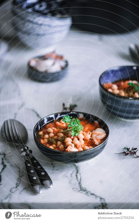 Cooked vegetables of stew on a bowl Spoon Soup Close-up Cup soup bowl Preparation Ingredients Stock To feed spoons Food Nutrition potage soup bowls Fresh Garlic
