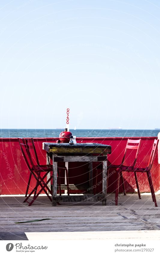 Vacation & Travel Beautiful Summer Red Ocean Beach Far-off places Coast Wood Horizon Waves Table Chair North Sea Joie de vivre (Vitality) Summer vacation