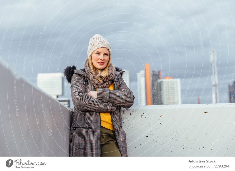 Portrait of blonde girl posing in the city Woman Town Girl Hair Model Blonde Beautiful Youth (Young adults) Hat Street Yellow Style Jacket City