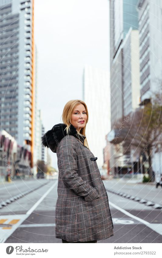 Blonde girl posing in the city Girl Woman Fashion Street Style Hair Youth (Young adults) Portrait photograph Asphalt Beautiful Bag Jacket Beauty Photography