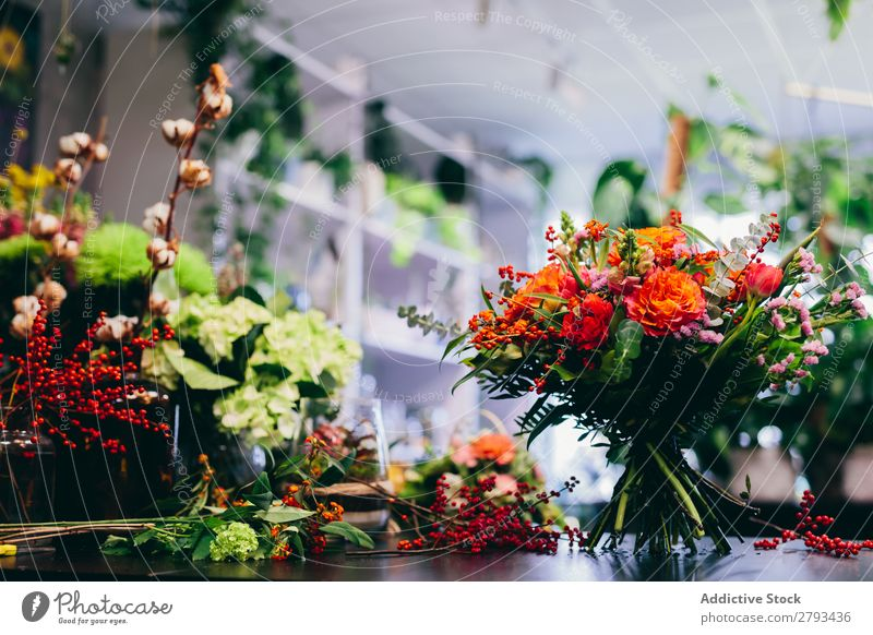 Flower shop counter with bouquet. Florist Floral Shopping Markets Bouquet Green Decoration Storage Garden Nature Sale Business Blossom Fresh Natural Plant