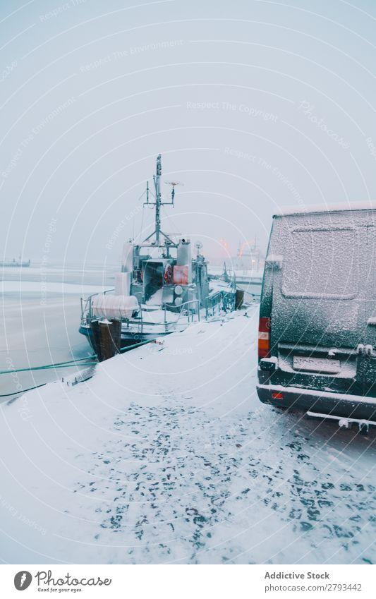 Van and boat in Arctic port Watercraft Port Winter The Arctic City Ocean Snow Industry Transport Modern Cold Frost North polar Cool (slang) Car Vehicle Vessel