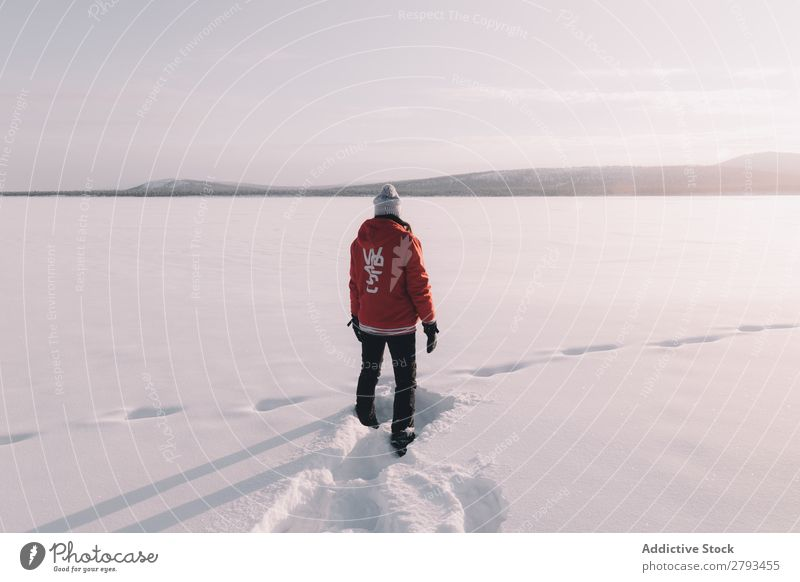 Anonymous person standing in snowy field Human being Field Snow The Arctic Winter Stand Cold White