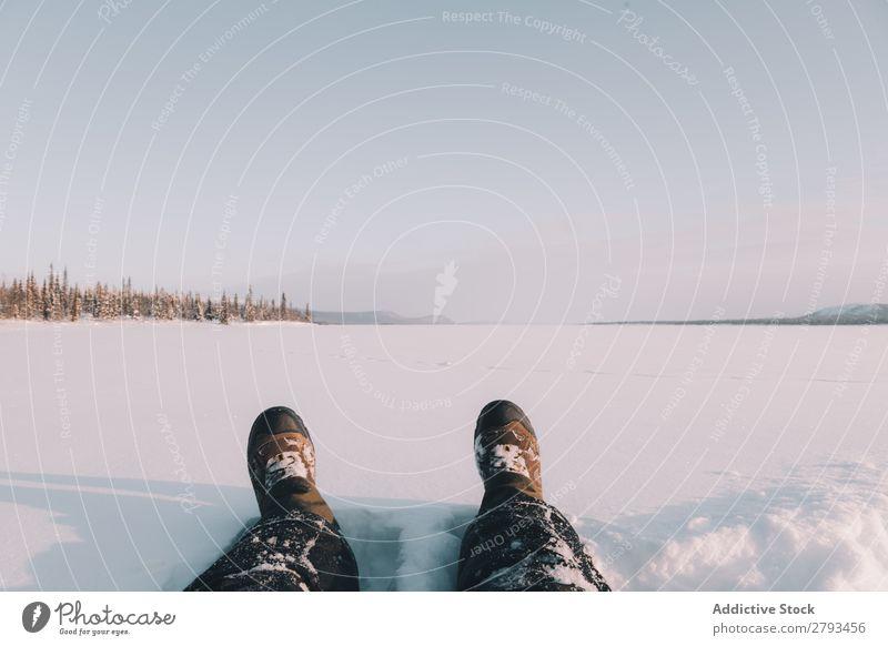 Crop legs in snowy field Legs Snow Field Landscape The Arctic Winter Nature Seasons
