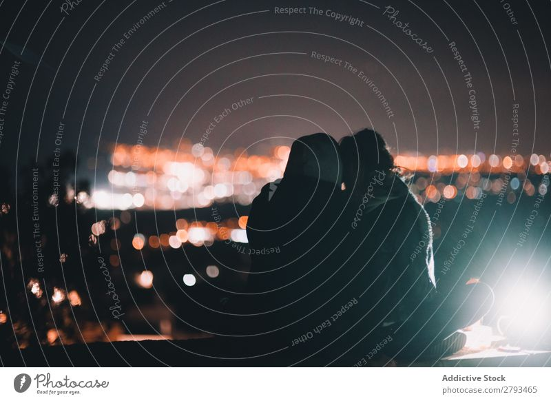 Anonymous couple looking at night city Couple City Night Together Illumination Man Woman Youth (Young adults)