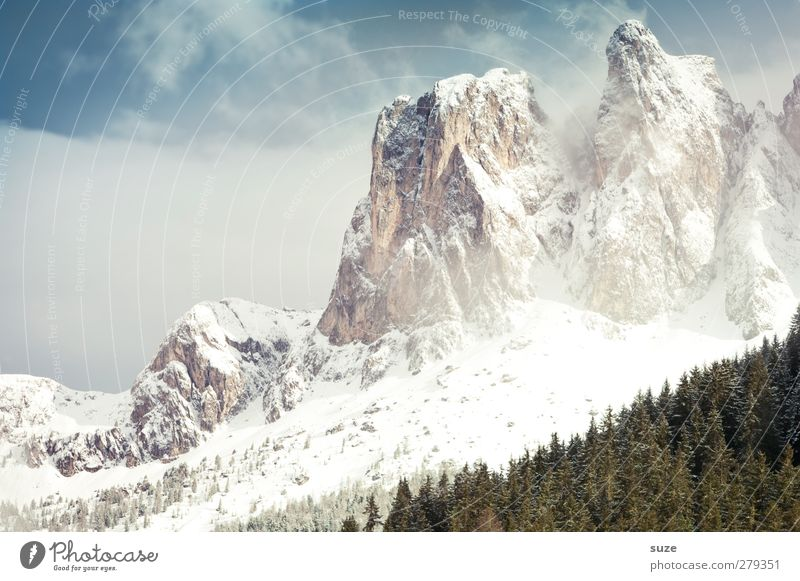 Big picture at a glance Vacation & Travel Snow Mountain Environment Nature Landscape Elements Sky Clouds Spring Winter Climate Beautiful weather Forest Alps