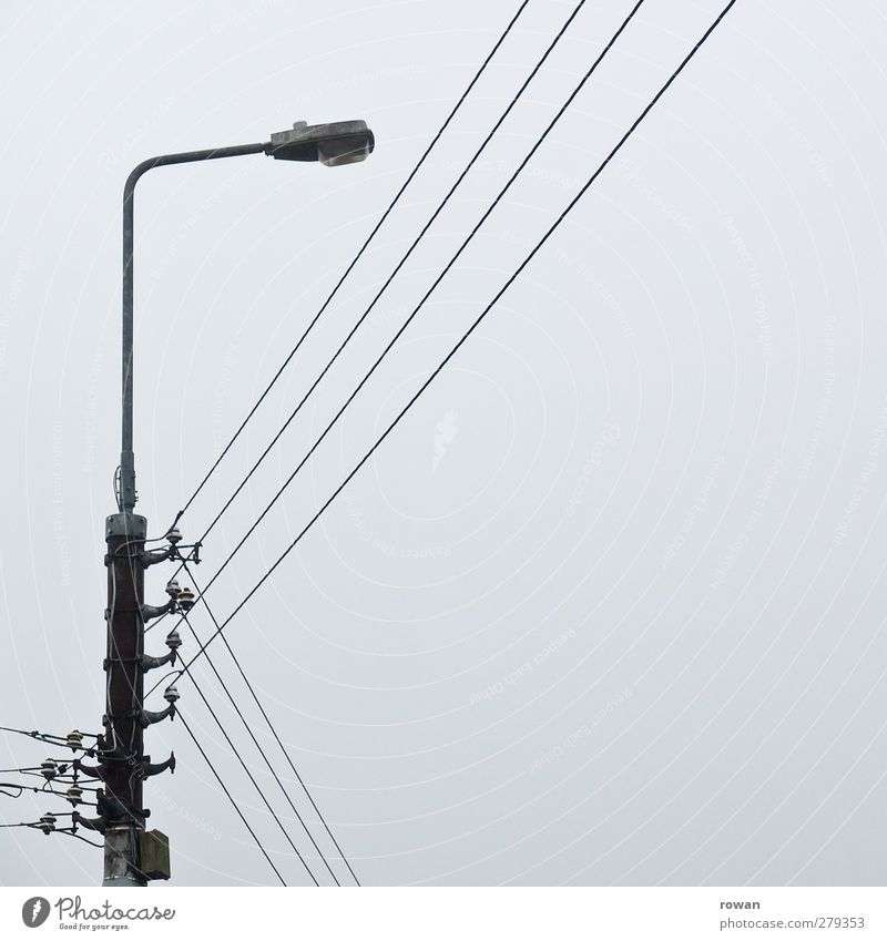 wired Energy industry Cold Electricity Electricity pylon Cable Street lighting Gray Line Parallel Power transmission Power consumption Connect Net