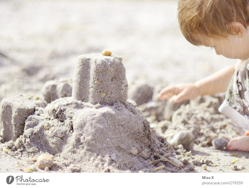 architect Vacation & Travel Summer Summer vacation Human being Child Toddler Infancy 1 1 - 3 years 3 - 8 years Beach Build Sandcastle Stone Colour photo