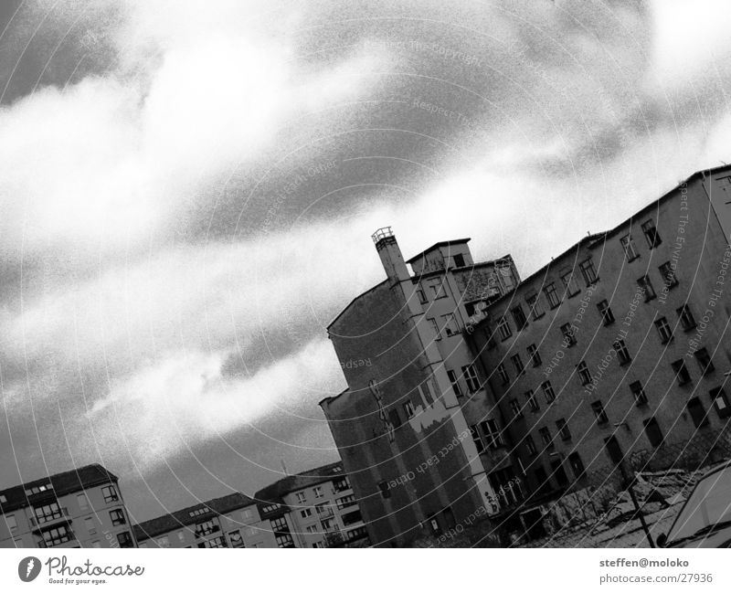 Old Sky City House (Residential Structure) Clouds Berlin Window Gray Stone Wall (barrier) Architecture Germany Crazy Facade Gloomy Derelict