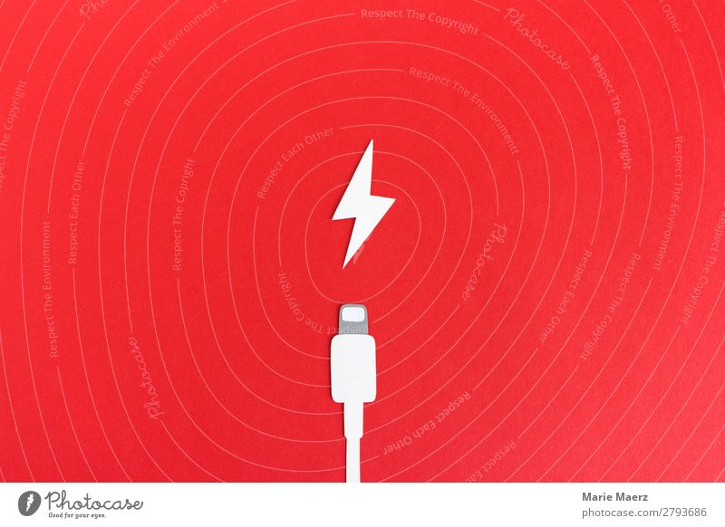 Charging the battery - Charging cable with flash Technology Make Red Power Exhaustion Energy Speed Love Stress Addiction Date Battery Empty Load charger cable