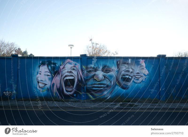 Human being Joy Face Graffiti Wall (building) Emotions Laughter Happy Art Wall (barrier) Group Facade Moody Happiness Joie de vivre (Vitality) Sign