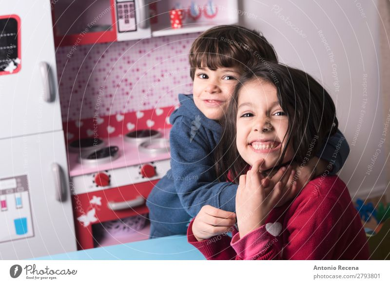 bROTHERHOOD Lifestyle Playing Kitchen Child Baby Toddler Boy (child) Sister Family & Relations 2 Human being Smiling Love Stand Cute embracing Playful lifestile