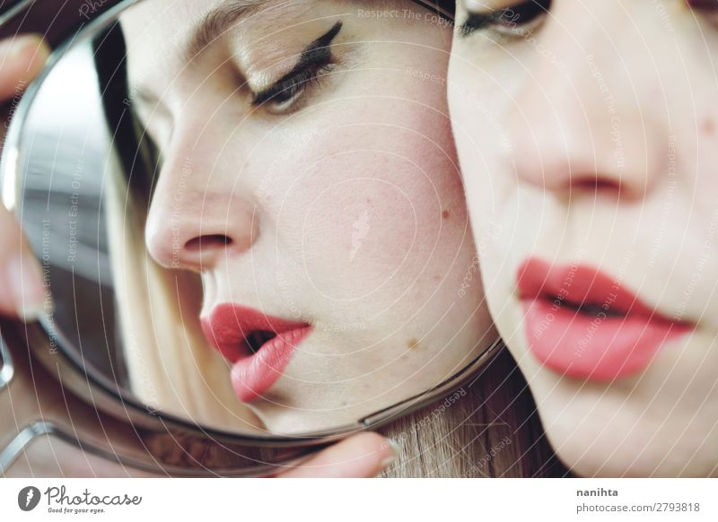 Close up of a woman with no makeup Style Beautiful Skin Face Cosmetics Make-up Lipstick Medical treatment Spa Mirror Human being Feminine Woman Adults 1