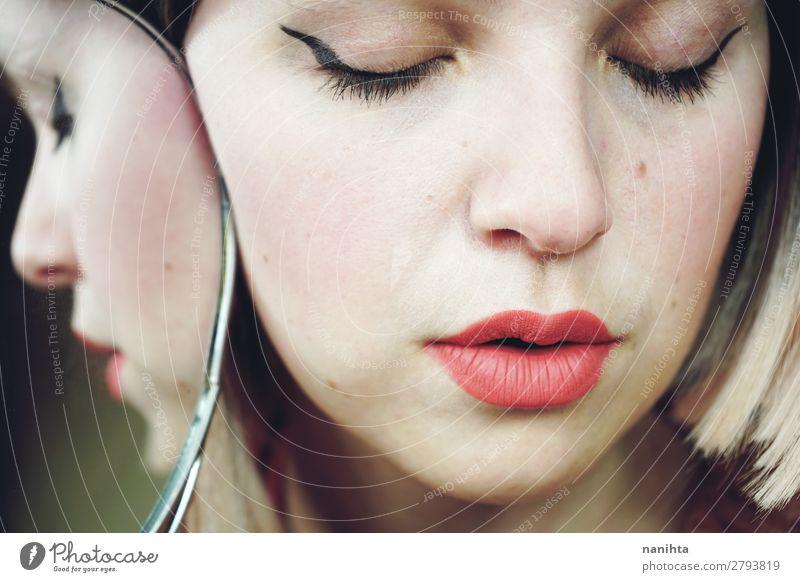 Close up of a beautiful woman Elegant Style Beautiful Skin Face Cosmetics Make-up Lipstick Medical treatment Spa Mirror Human being Feminine Woman Adults 1