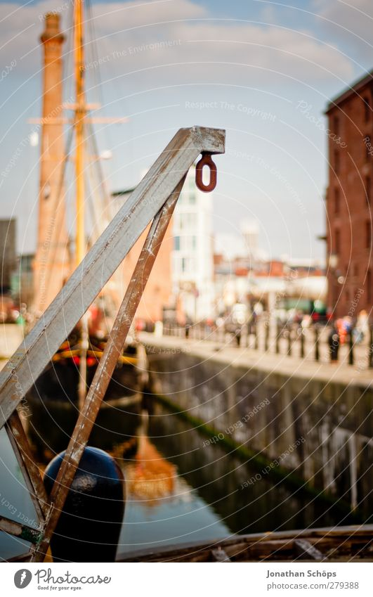 The hook in the matter Harbour Whimsical Liverpool Port City Dock Checkmark Chain link Hang up Watercraft Gallows Dockside crane Harbour entrance Goods lift