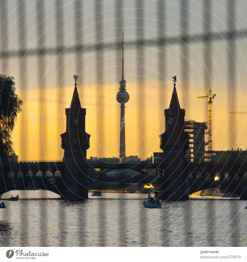 Right in the middle between Sightseeing Cloudless sky Summer River Spree Kreuzberg Capital city Bridge Tower Tourist Attraction Landmark Berlin TV Tower