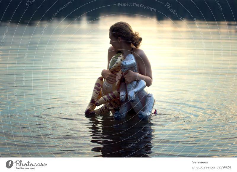 mt dns bdn ghn Summer Summer vacation Ocean Waves Human being Feminine Woman Adults 1 Environment Nature Coast Lakeside Dinosaur Swimming & Bathing Wet