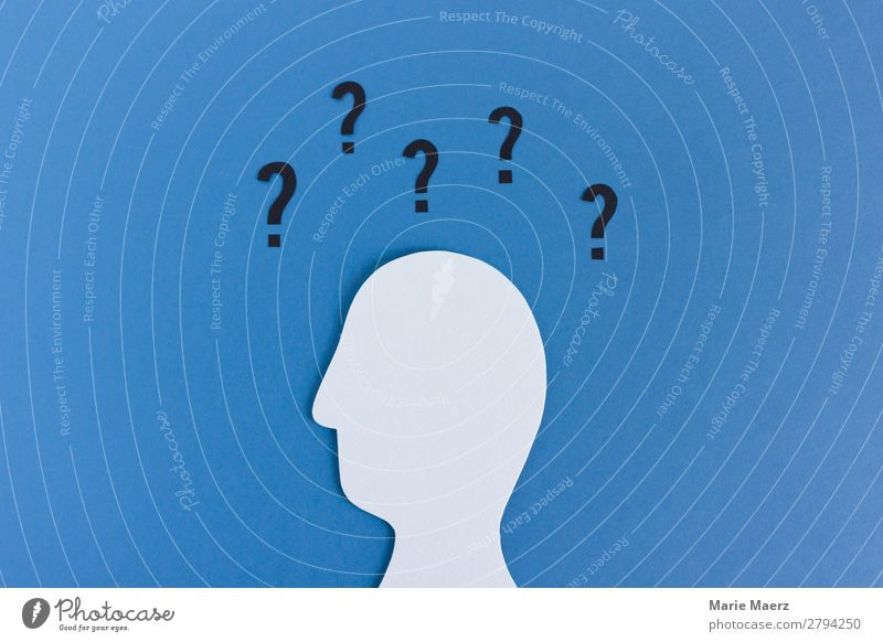 So many questions - head silhouette with question mark Education Science & Research Career Masculine Head 1 Human being Sign Think Simple Modern Blue Emotions