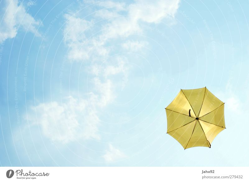 UmBRelLA Lifestyle Style Air Sky Sky only Clouds Umbrella Free Infinity Blue Contentment Joie de vivre (Vitality) Protection Freedom Yellow Rain Autumn Autumnal