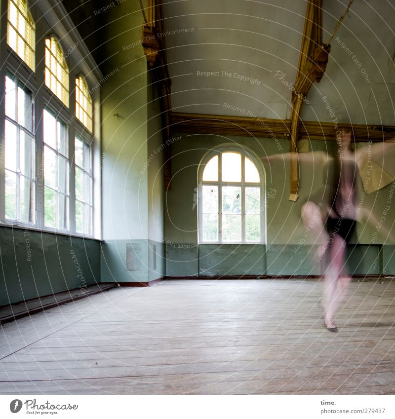 Unfinished Ballroom Story (VII) Feminine 1 Human being Dance Hall Wall (barrier) Wall (building) Window Movement Rotate Exceptional Elegant Historic Beautiful