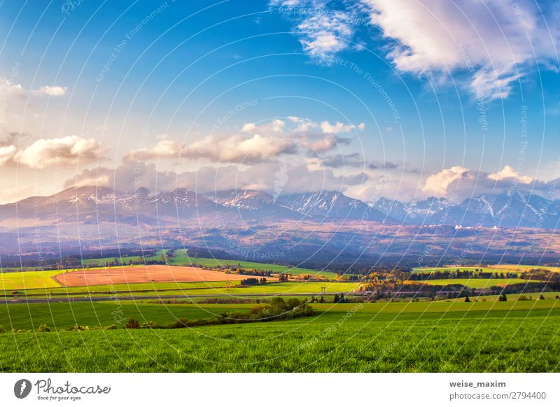 Panorama of Slovakia Tatras mountains in spring Sky Vacation & Travel Nature Summer Green Landscape Tree Flower Clouds Calm Forest Far-off places Mountain