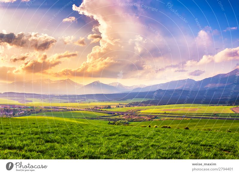 Picturesque green fields and meadow landscape Sky Vacation & Travel Nature Summer Plant Green Landscape Tree Clouds Calm Forest Far-off places Mountain Autumn