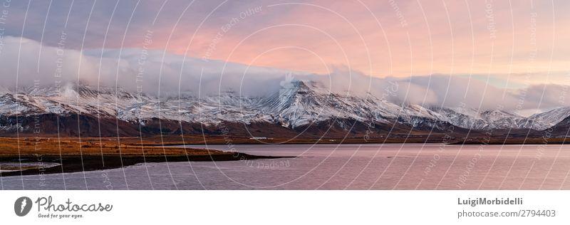 Sunrise from Reykjavik, Iceland Vacation & Travel Ocean Island Snow Mountain Nature Landscape Water Sky Clouds Sunset Autumn Coast Colour Reykjavík icelandic