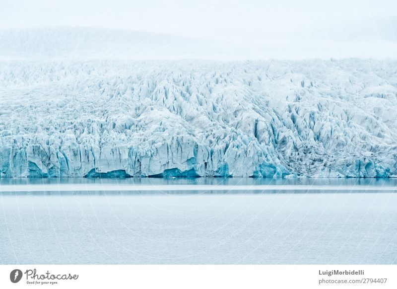 Fjallsarlon glacier lagoon, Iceland Vacation & Travel Island Winter Snow Mountain Nature Landscape Water Sky Bad weather Fog Hill Glacier Lake Blue White Colour