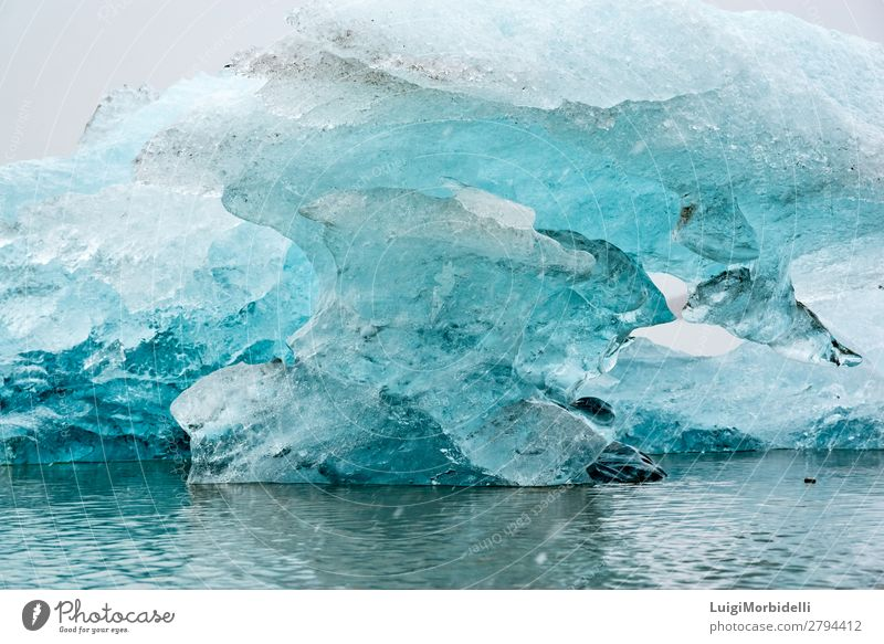 Closeup of iceberg in Fjallsarlon glacier lagoon, Iceland Vacation & Travel Island Winter Snow Nature Landscape Sky Frost Glacier Lake Blue White Colour Cold