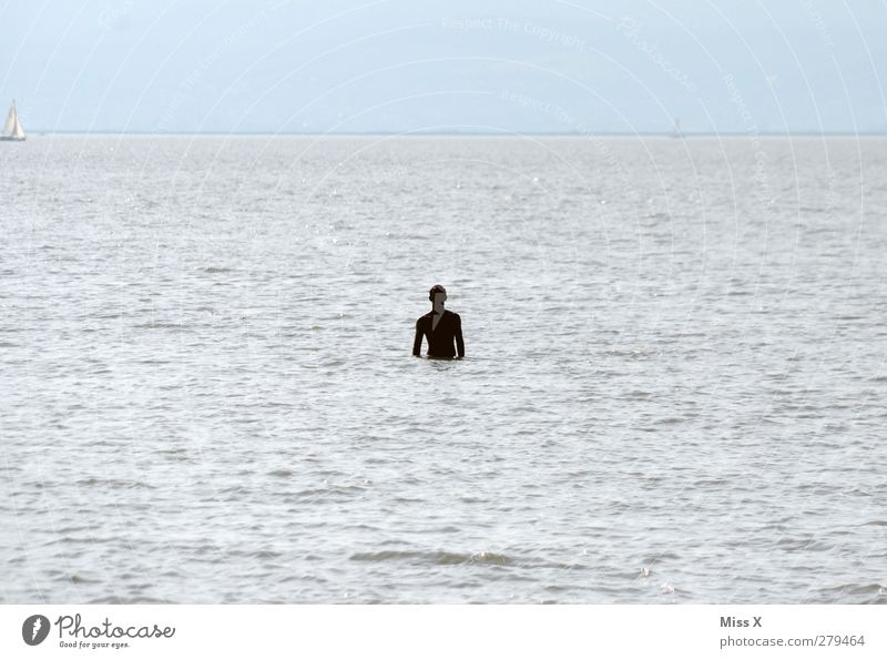 Human being Water Ocean Loneliness Lake Swimming & Bathing Waves Masculine