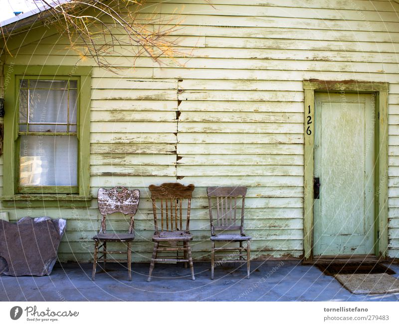empty chairs Background picture Country house shabby chic old door old window old chairs Veranda exteriors Consistency Green Old Weathered Yellow Building