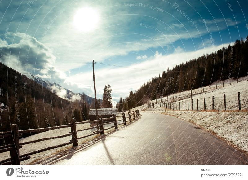 Cold light Vacation & Travel Snow Winter vacation Mountain Environment Nature Landscape Elements Sky Clouds Climate Beautiful weather Forest Rock Alps Transport
