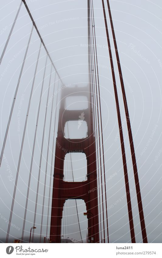 Golden Gate Bridge Sky Fog Town Tourist Attraction Landmark Red San Francisco Colour photo Exterior shot Deserted